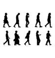 silhouette people walking collection on white vector image vector image