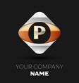 silver letter p logo symbol in the square shape vector image
