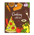 Sketch cooking card vector image vector image