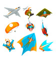 skydivers flying with parachutes wingsuits hang vector image