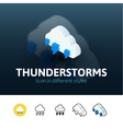 Thunderstorms icon in different style vector image vector image