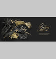 tropical leaves black and gold botany banner vector image vector image
