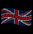 waving british flag collage of pistol gun icons vector image