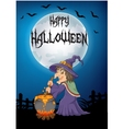 Witch stirring cauldron vector image vector image