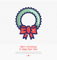 wreath on the door thin line icon vector image vector image