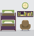 Empty Bunk Bed With Armchair And Bookcase vector image