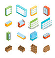 supermarket elements 3d icons set isometric view vector image