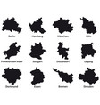 12 black outline maps germany vector image