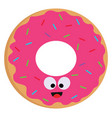 a smiling pink donut with colorful sprinkles on vector image vector image