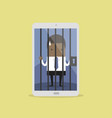 african businessman locked in smartphone vector image