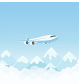 airplane flight air plane flying over mountains vector image