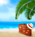 background with palm tree travel bag vector image vector image