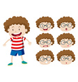 Boy with curly hair and many expressions vector image vector image