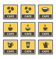 Cafe icons and signs with coffee beans and cups