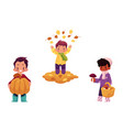children doing autumn activity set vector image vector image