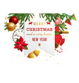 christmas emblem over holiday background vector image