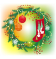 christmas wreath and socks for gifts vector image