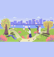 city park people characters and social media vector image vector image