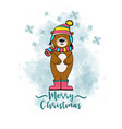 doodle christmas card with dressed bear vector image