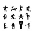 football soccer player actions poses stick figure vector image vector image