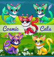 funny poster with image cosmic cats sample vector image