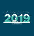 happy new year 2019 text design with winter vector image