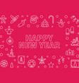 happy new year horizontal frame in thin vector image vector image