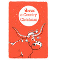 merry country christmas card with bull and santa vector image vector image