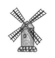mill hand drawn vintage windmill engraved linear vector image vector image