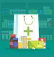 modern interior pharmacy and drugstore sale of vector image vector image