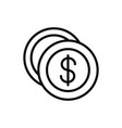 money coins currency shopping line style vector image