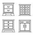 nightstand icon set outline style vector image vector image
