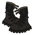 old black heavy military shoes vector image vector image