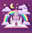 open fairy tale book with castle and clouds stars vector image