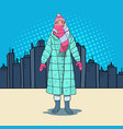 pop art beautiful woman in warm winter clothes vector image vector image