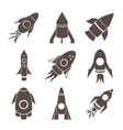 rockets icons set on white background vector image vector image