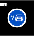 round sign white thin line electrical car sign vector image