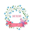 save date hand drawn floral wreath with ribbon vector image
