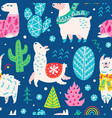seamless christmas pattern with cute cartoon vector image vector image