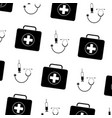 seamless pattern medical kit fisrt aid syringe and vector image vector image