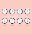 set 3d clock for different time zones and vector image