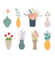 set flowers in vases on white vector image vector image