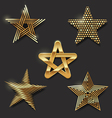 set golden decorative stars vector image vector image