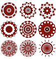 Set of black and red mandalas vector image vector image