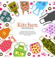 set of colorful kitchen aprons with patterns icons vector image