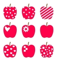 set red apples stylized icons isolated on white vector image vector image