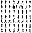 Silhouettes of running