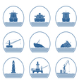 Silhouettes of ships and marine structures vector image vector image
