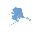 State Map of Alaska by counties vector image vector image