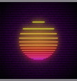 sun neon sign glowing striped sun symbol vector image vector image
